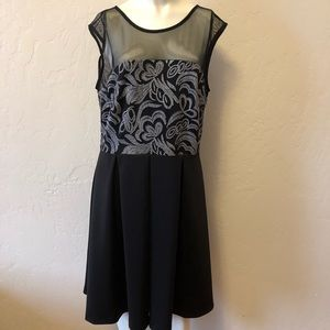 Covington black dress with silver accents